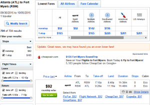 Atlanta to Fort Myers: Fly.com Results Page