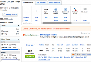 Atlanta to Tampa: Fly.com Results Page
