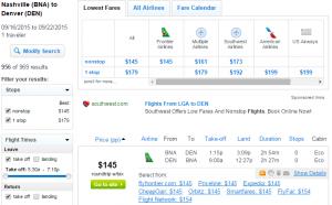 Nashville to Denver: Fly.com Results Page