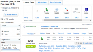 Nashville to San Francisco: Fly.com Results Page