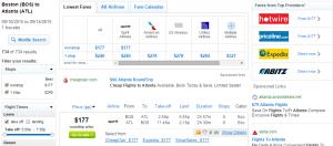 Boston to Atlanta: Fly.com Results Page