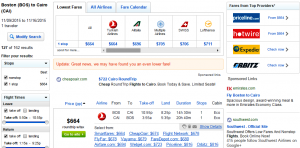 Boston to Cairo: Fly.com Results Page