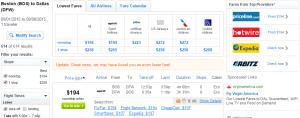 Boston to Dallas: Fly.com Results Page