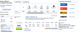 Boston to Guatemala City: Fly.com Results Page