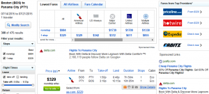 Boston to Panama City: Fly.com Results Page