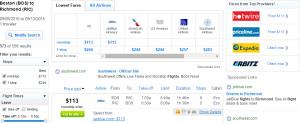 Boston to Richmond: Fly.com Results Page
