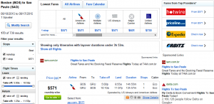 Boston to Sao Paulo: Fly.com Results Page