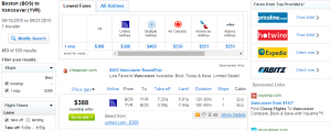 Boston to Vancouver: Fly.com Results Page