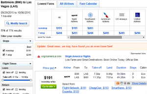 Baltimore to Las Vegas: Fly.com Results Page