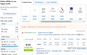Dallas to Las Vegas: Fly.com Results Page