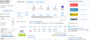 Newark to Cancun: Fly.com Results Page