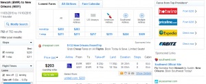 Newark to New Orleans: Fly.com Results Page