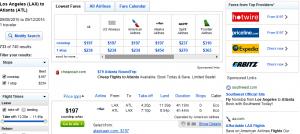 LA to Atlanta : Fly.com Results Page