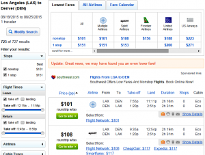 LA to Denver: Fly.com Results Page
