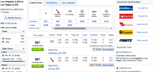 LA to Vegas: Fly.com Results Page