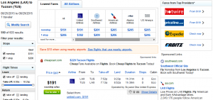 LA to Tucson: Fly.com Results Page