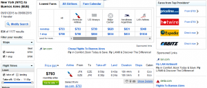 NYC to Buenos Aires: Fly.com Results Page
