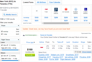 NYC to Toronto: Fly.com Results Page