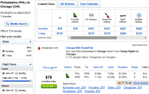 Philly to Chicago: Fly.com Results Page