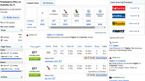 Philly to Charlotte: Fly.com Results Page