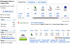 Philly to Tampa: Fly.com Results Page