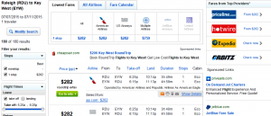 Raleigh to Key West: Fly.com Results Page