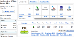 SF to Denver: Fly.com Results Page