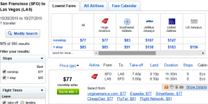 SF to Las Vegas: Fly.com Results Page