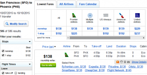 SF to Phoenix: Fly.com Results Page