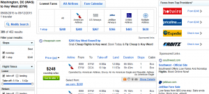 D.C & Baltimore to Key West: Fly.com Results Page