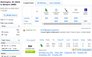 D.C. to Memphis: Fly.com Results Page