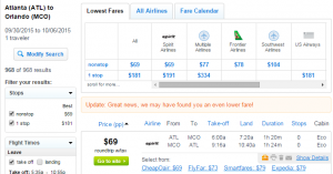 Atlanta to Orlando: Fly.com Results Page