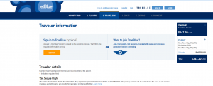 NYC to Barbados: JetBlue Booking Page
