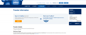 NYC to Sint Maarten: JetBlue Booking Page