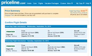 Nashville to Denver: Priceline Booking Page