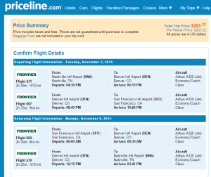 Nashville to San Francisco: Priceline Booking Page