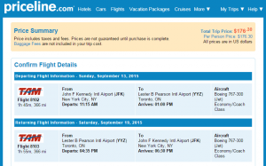 NYC to Toronto: Priceline Booking Page