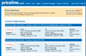 NYC to Vienna: Priceline Booking Page