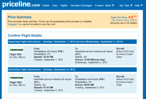 Philly to Atlanta: Priceline Booking Page