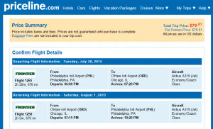 Philly to Chicago: Priceline Booking Page