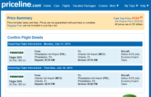 Philly to Orlando: Priceline Booking Page