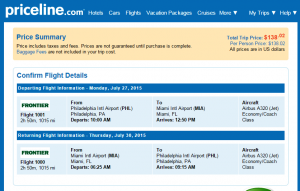 Philly to Miami: Priceline Booking Page