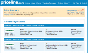 D.C. to Las Vegas: Priceline Booking Page