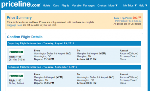 D.C. to Memphis: Priceline Booking Page