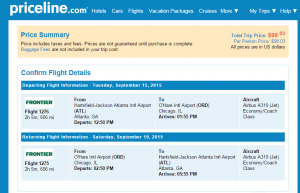 Atlanta to Chicago: Priceline Booking Page