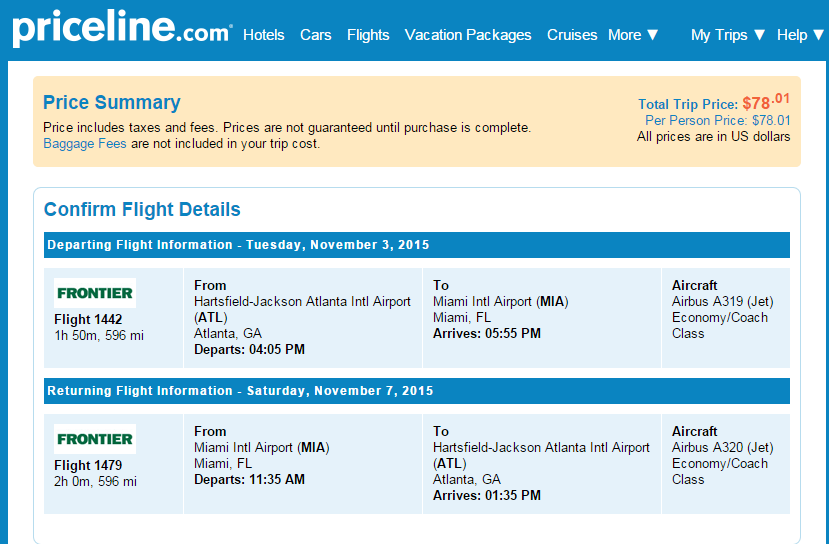 Atlanta To Miami Priceline Booking Page 42 98 4 Top Cities Nonstop R T Fly Travel Blog