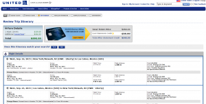 Newark to Mexico: United Booking Page