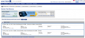 NYC to Dublin: United Booking Page