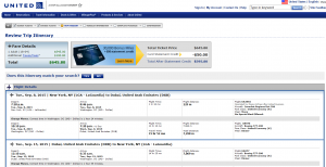 NYC to Dubai: United Airlines Booking Page