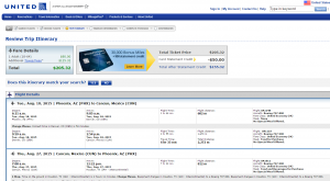 Phoenix to Cancun: United Booking Page
